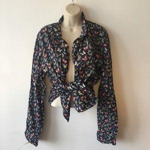 ZARA Blue /multicolor butterfly button down blouse